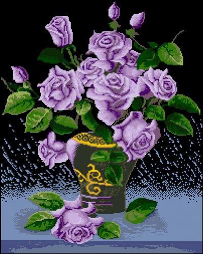 """Канва с рисунком Ц-050 """"Фиолетовые розы"""" 42,5х56"""