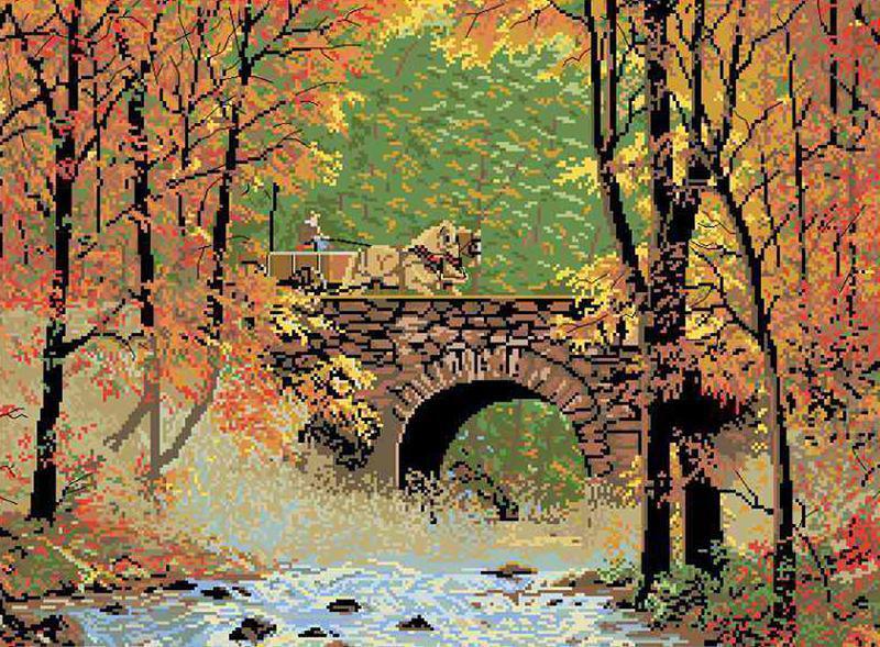 """Канва с рисунком П-042 """"Каменный мост в осеннем лесу"""" 43,5х57,5 см"""