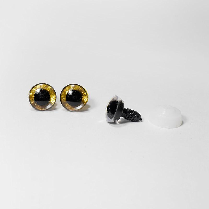 Глазки с искоркой 16мм 5 пар золото (А1)