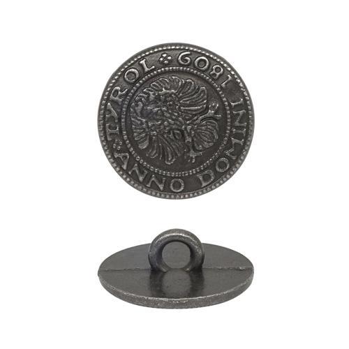Пуговица на ножке 15мм герб т.серебро 600603