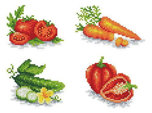 Флизилин с рисунком для вышивания кфо4038 Овощи А4, шт