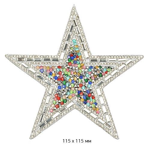 Термоаппликация блестящая Звезда УТ-58155 115мм мульти