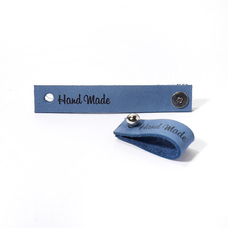Кожаная бирка Hand Made с кнопкой 1,3х7см джинс