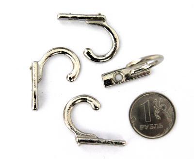 Декоративный крючок С-114 27х7мм 4шт серебро 24616