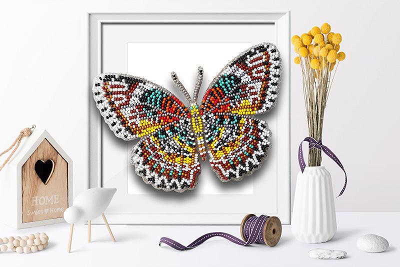 б-038 Набор для вышивания бисером 3-D Бабочка Cethosia Cyane 9,5х13,5см