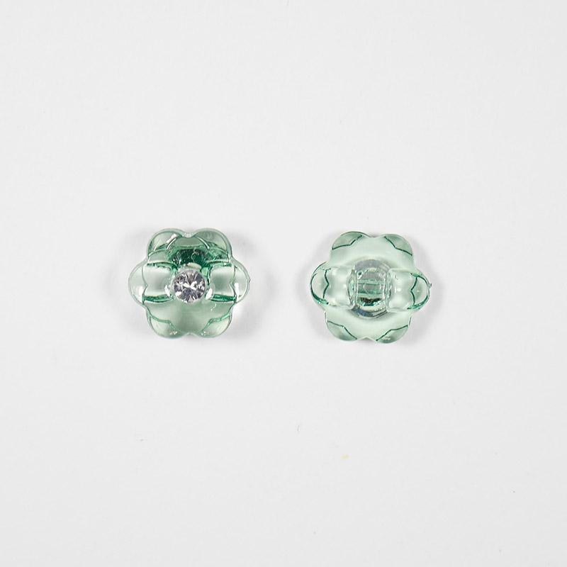 Пуговицы блузочные со страз. Цветок 13мм А085 зеленый