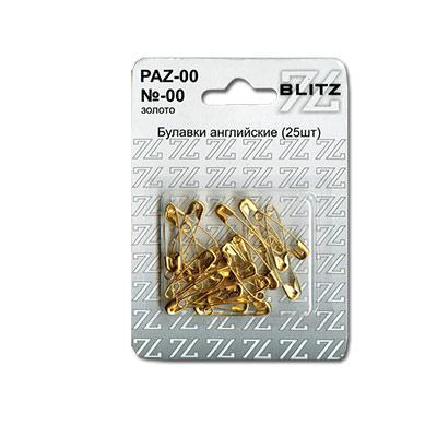Булавки английские BLITZ №00 золото 25шт PAZ-00