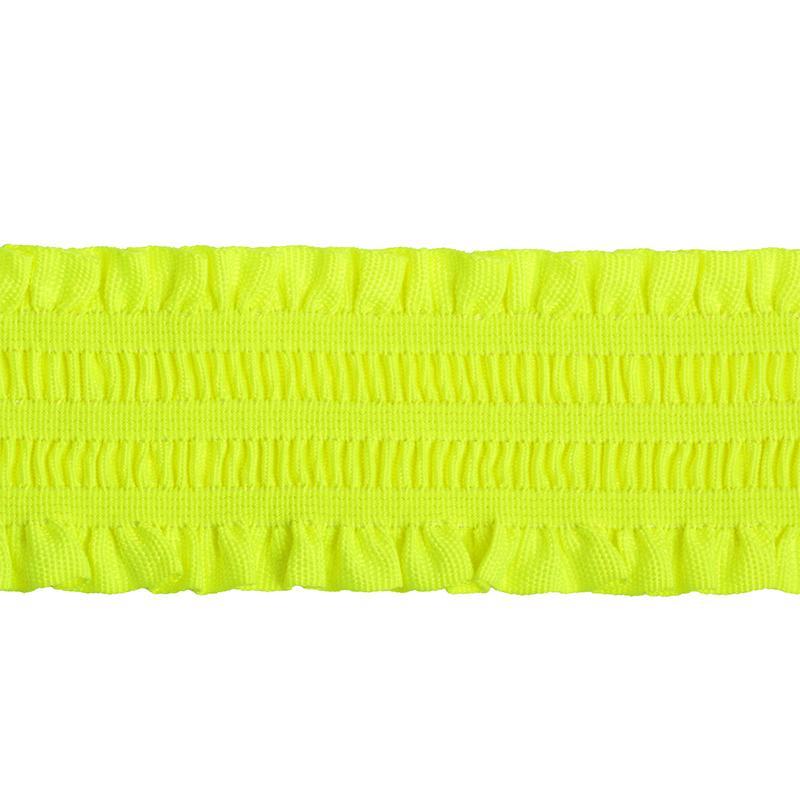 Резинка декоративная с рюшами УТ-61724 50мм 25м  салатовый люминесцентный