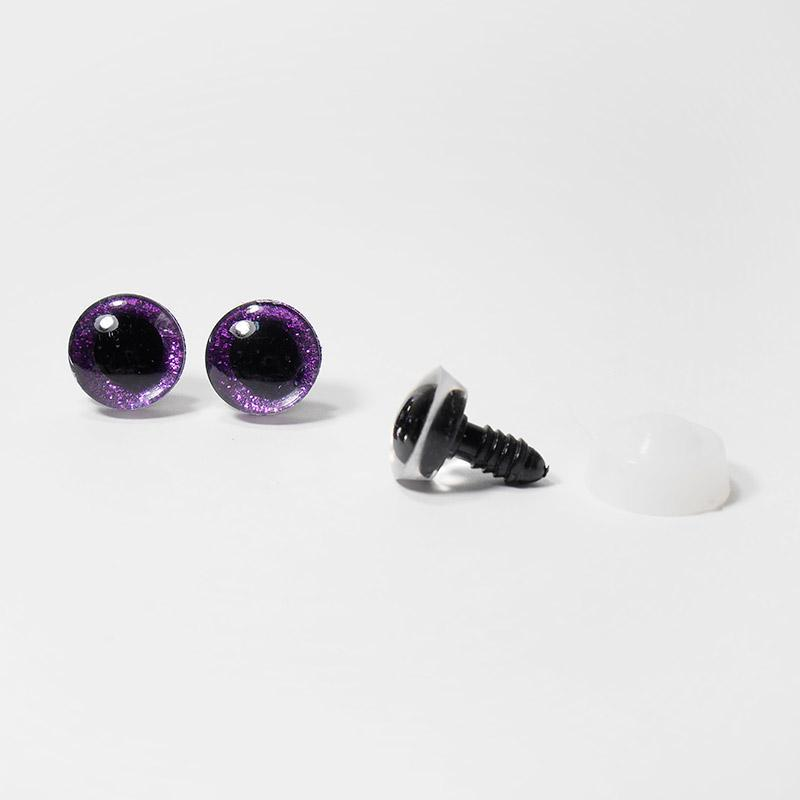 Глазки с искоркой 20мм 5 пар фиолетовый (А1)