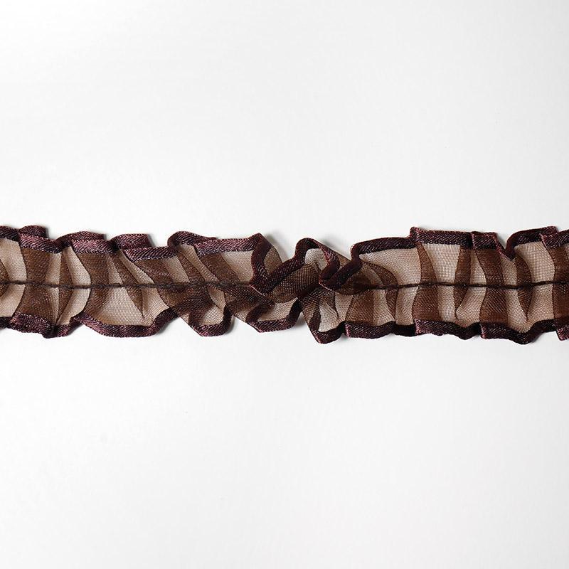 Тесьма рюш TBS-D капрон 25мм 18,28м 175 коричневый