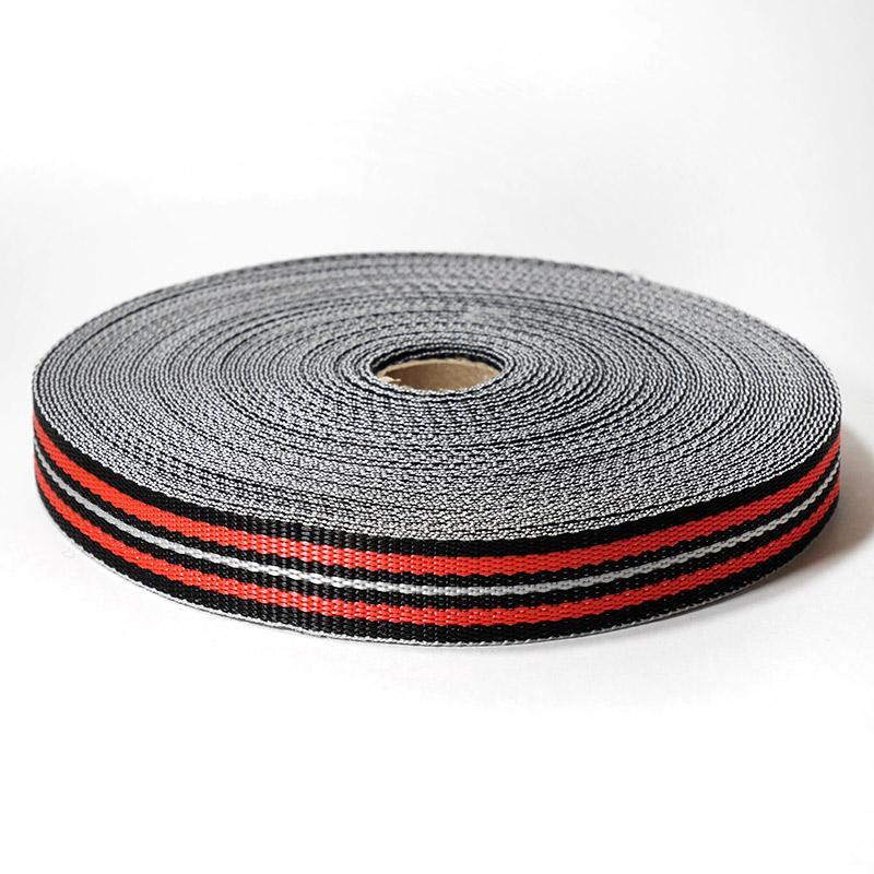 Стропа-25-7п С3826 25мм 25м черный/красный/белый 9556/3
