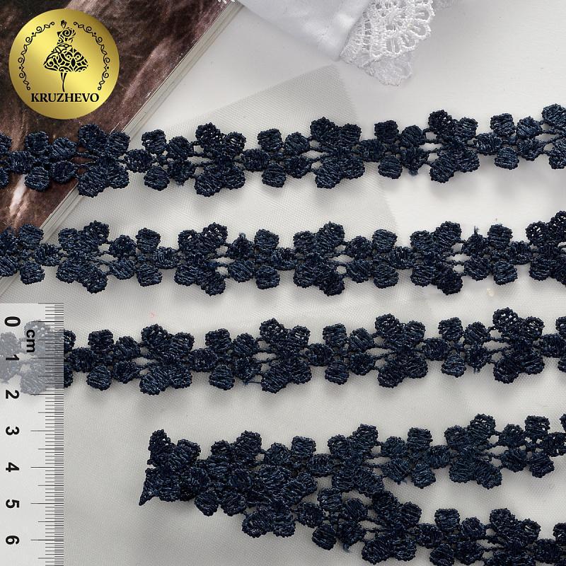 Кружево гипюр с бабочками 18мм 13.71м TBY.26416 3026 т.синий