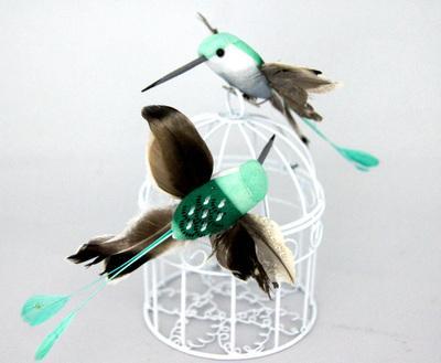 Птичка Колибри 11х9см 2шт зеленый 24576