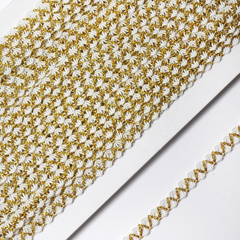Тесьма 9мм 18.28м FX L006 золото/белый