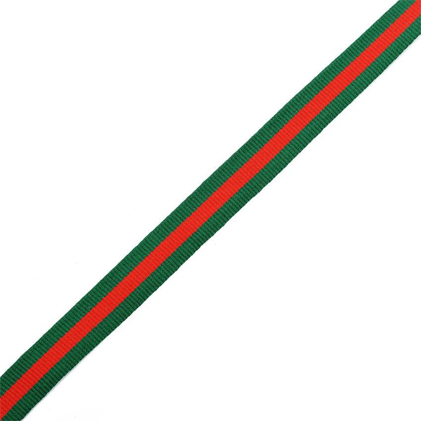 Тесьма тканевая рубчик неэластичная Лампас Ф.4015Р.2 15мм 50м зел/крас/зел