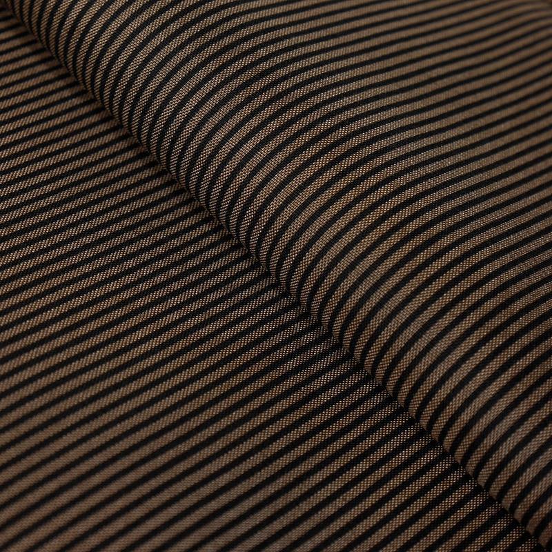 Ткань с мелким принтом 865-В-6 полоска 100% п/э, 50х80см коричневый-черный 23600