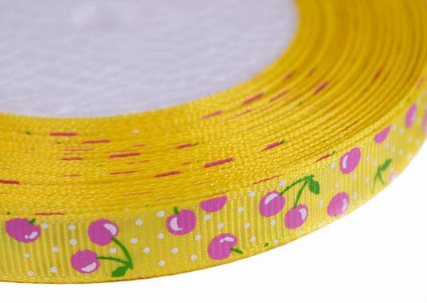 Лента репсовая Вишня 10мм 23м желтый 132 Одеон