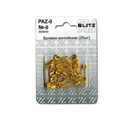 Булавки английские BLITZ №0 золото 25шт PAZ-0