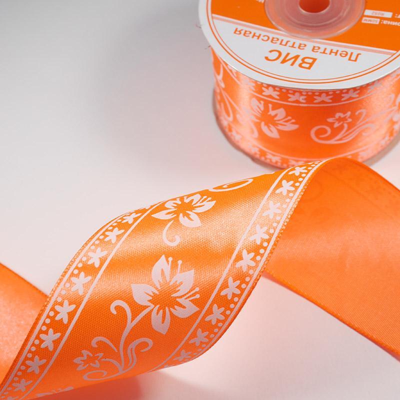 Лента атлас В 1 Печать 50мм №R052 22.5м оранжевый неон