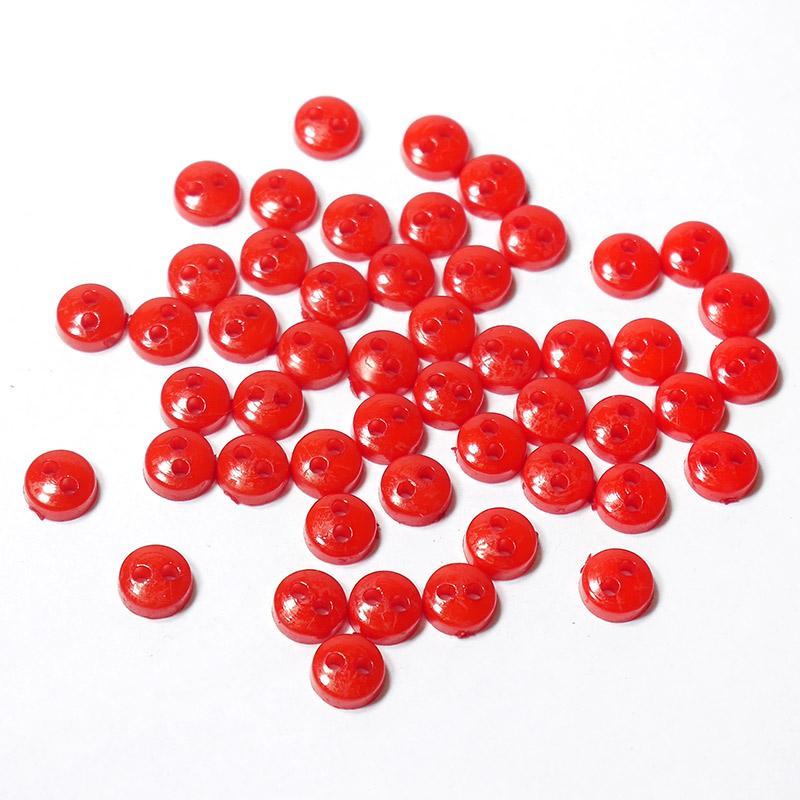 Пуговицы мини 6мм на 2 прокола пластик 50шт красный 27379