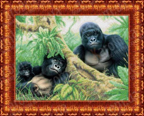 """Ткань схема для бисера кбж 3022 """"Семья горилл"""""""