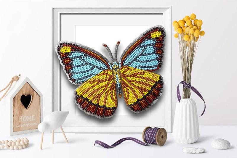 б-036 Набор для вышивания бисером 3-D Бабочка Appias Lyncida Vasava 13,5х11 см