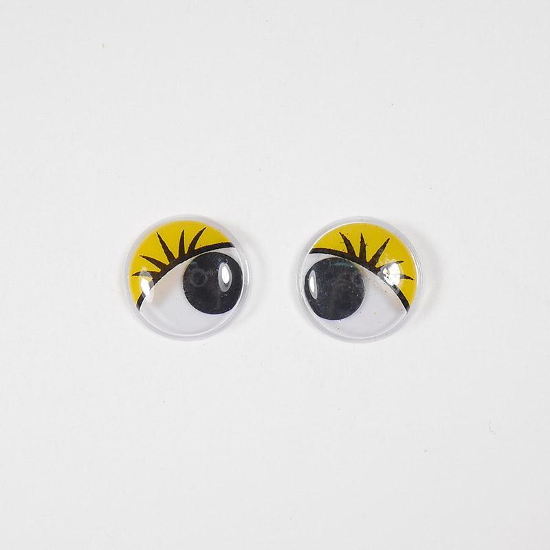 Глазки бегающие клеевые с ресницами 12мм желтый (О2)