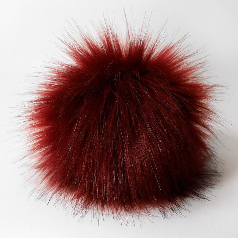 Помпон 13-15см искусственный под енота бордовый (черные кончики)