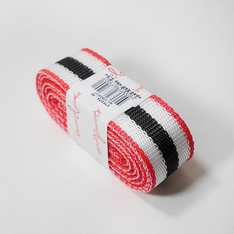 Стропа фасовка 30мм 2.5м 3713 красный/белый/черный