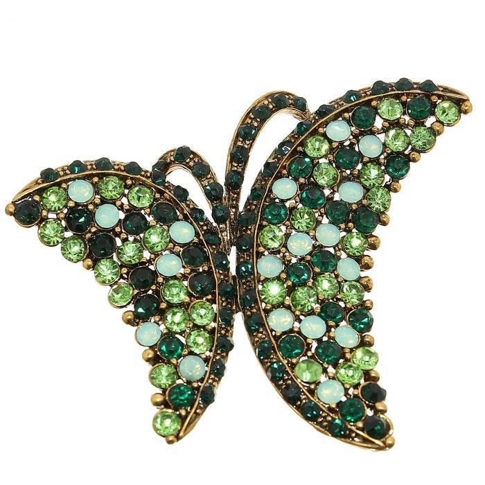 Брошь Бабочка нарядная, изумрудный в золот 1148674