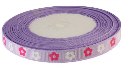 Лента репсовая Цветочек 10мм сир 141/роз/бел Одеон