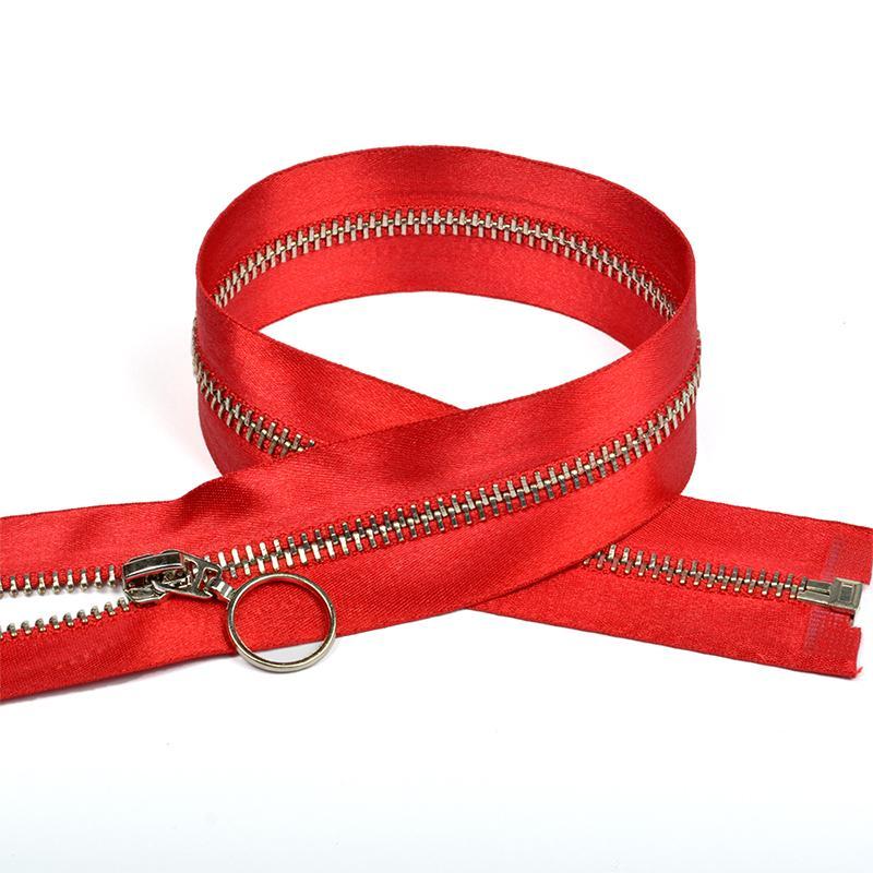 Молния металл №5 50см никель атласная тесьма F148 красный
