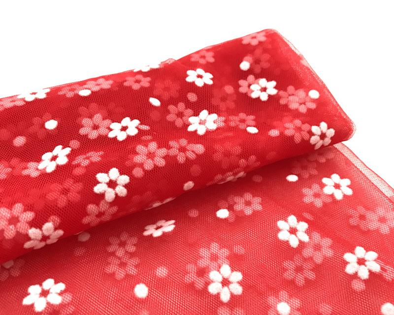 Фатин в цветочек мягкий КЛ.25437 50х70см красный