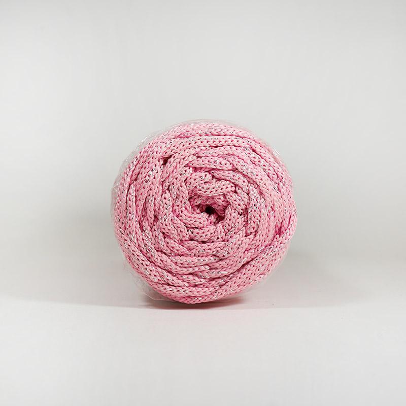 Шнур без сердечн №90  4мм 100м полиэфир розов с сер люрексом