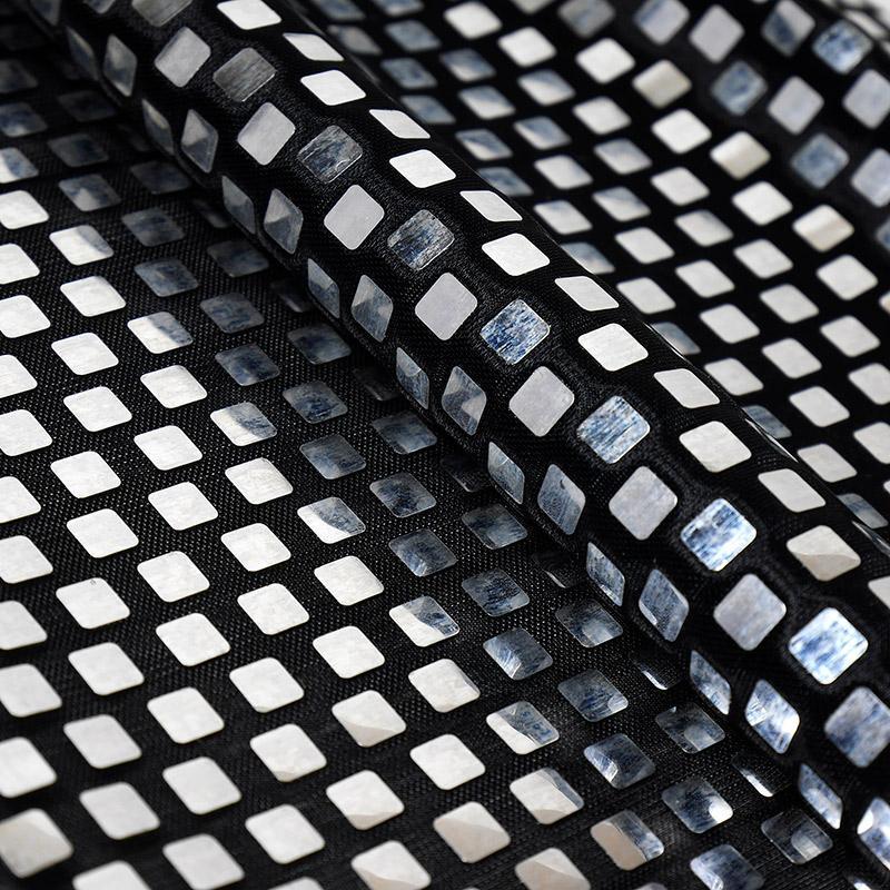 Ткань Полиэстер с квадратными пайетками 50х50см черный