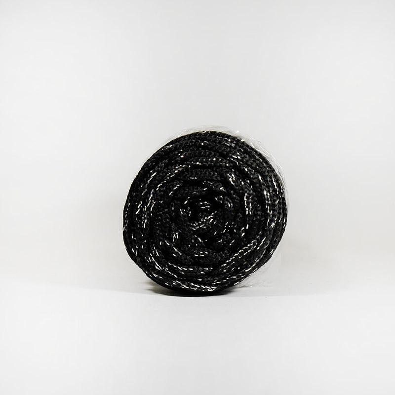Шнур без сердечн 4мм №170 100м полиэфир черный с сер люрекс