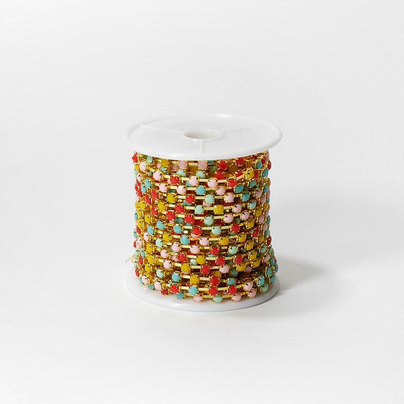 Стразы на бобине матовые 4мм 9,14м SF-1648 разноцветные №3 202-186