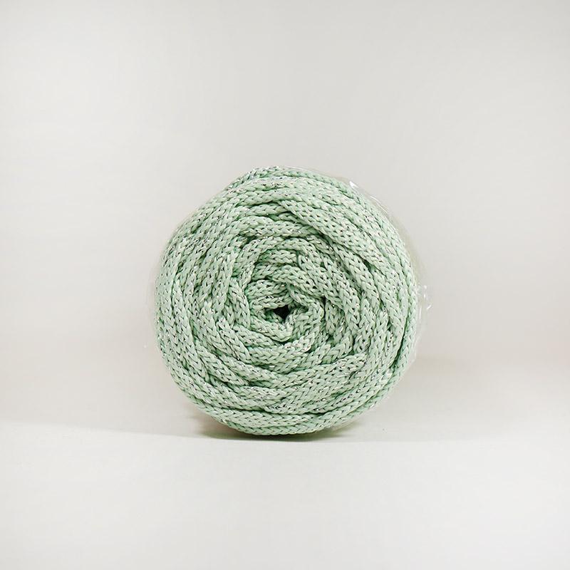 Шнур без сердечника 4мм 100м полиэфирный серо-зеленый с серебряным люрексом 21