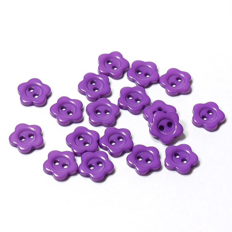 Пуговицы мини 10мм цветок пластик на 2 прокола 18шт фиолет 27327