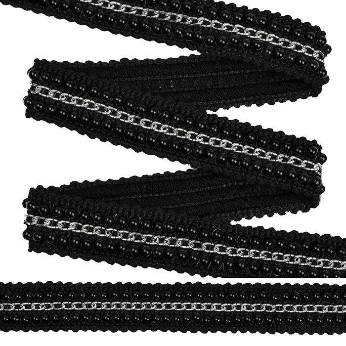 Тесьма с цепочкой TBY SL.TCSB4 20мм 22.85м черный/серебро