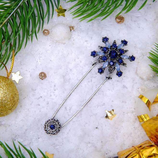 Булавка Снежинка оригинальная 7,5см синий в черненом серебре 3445925