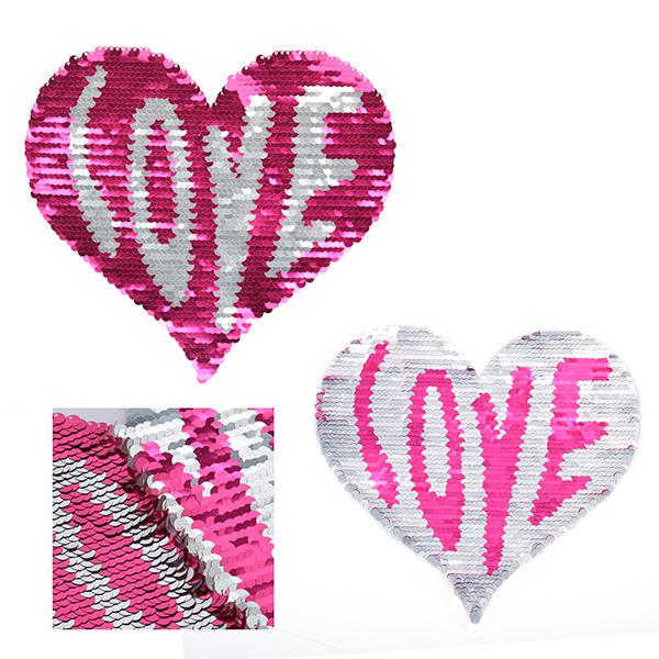 Аппликации пришив. TBY.FLA08 Сердце с двусторонними пайетками 20х20см 2шт СК