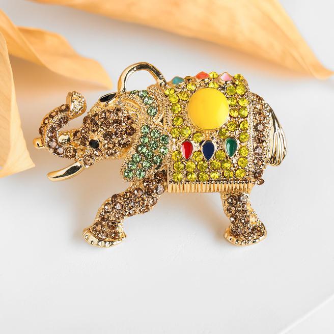 Брошь-подвеска Слон тайский цветная в золоте 4685801