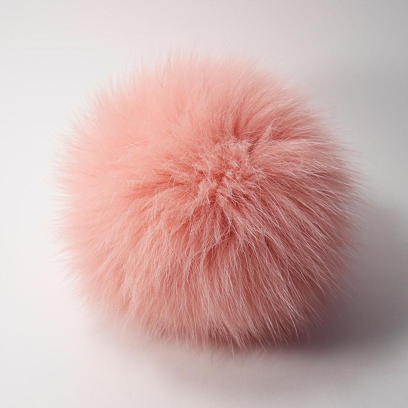 Помпон натуральный песец 12см розовый