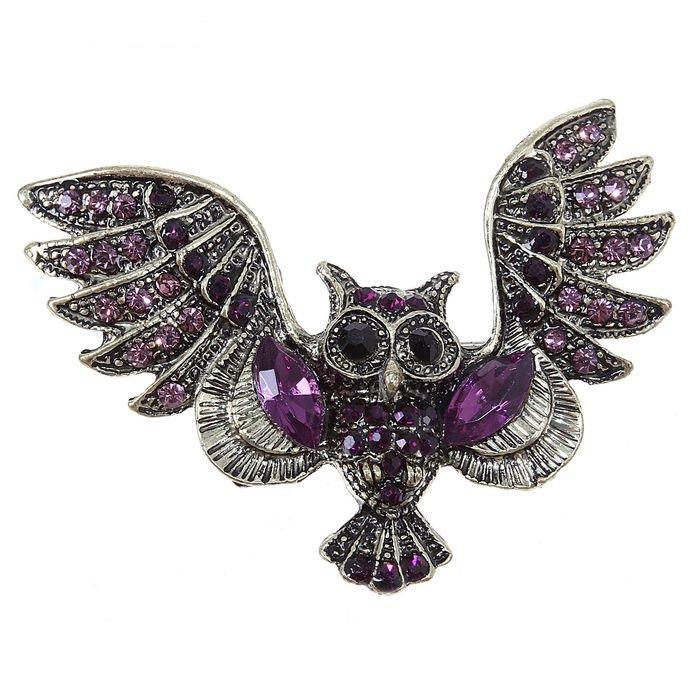 Брошь Сова, цвет фиолет. в черненом золоте 1194065