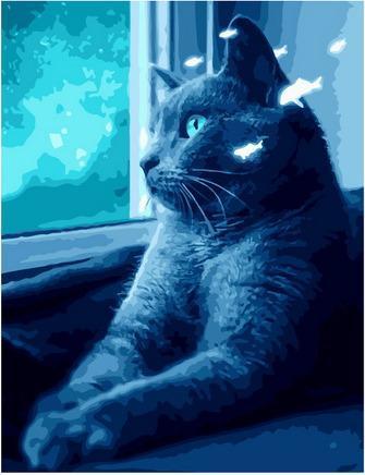 Картина по номерам GX 38997 Ночная киса 40х50см