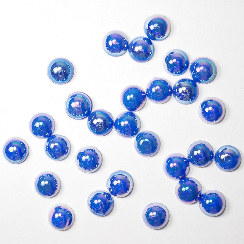 П/бусины перламутровые Круг 8мм 017 тем.синий