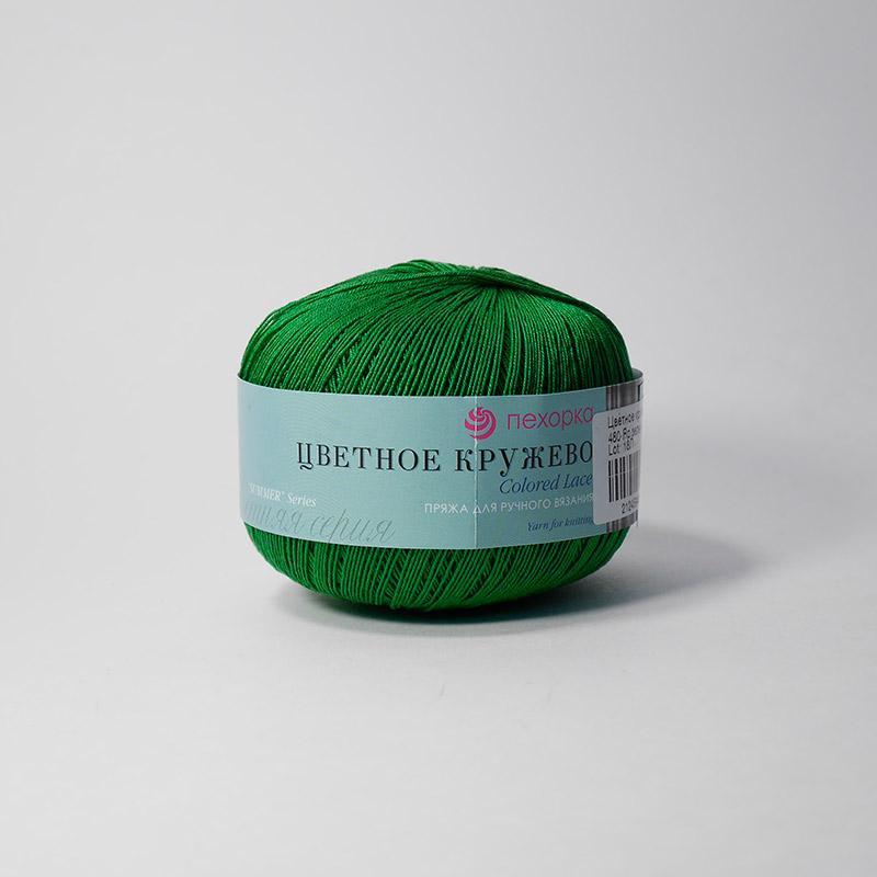 Пряжа Цветное кружево 480 - яр.зелень