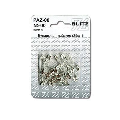 Булавки английские BLITZ №00 никель 25шт PAN-00