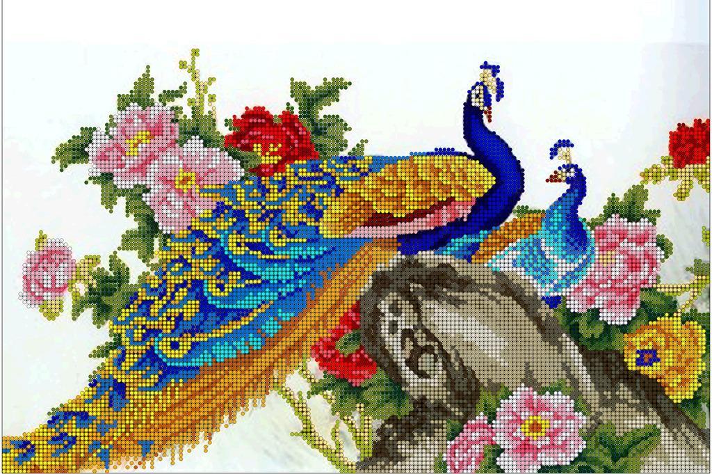 Схема для вышивания крестиком с павлинами
